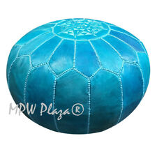 MPW Plaza Pouf, Turquoise, Moroccan Leather Ottoman (Un-Stuffed) just the cover