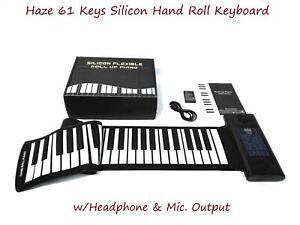 Haze 61 Keys Silicon Hand Roll Keyboard w/Headphone & Mic. Output |PS61B|
