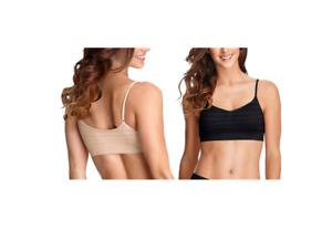 Jockey Women's 2-Pack Black/Light Microfiber Stretch Seamfree Bralettes XL #271