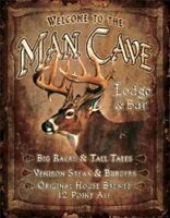 Man Cave Lodge & Bar Vintage Hunting Novelty TIN SIGN Metal Cabin Wall Poster
