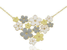Contemporary Gold Multicoloureded Cluster Flower Fashion Necklace Jewelry Gift
