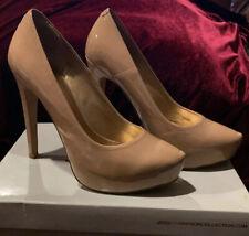 Jessica Simpson Nude Patent Francesca Platform Pump Heel Size US 7.5 Prom Shoe