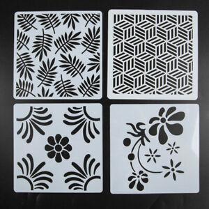 4Pcs Fleur Feuilles DIY Superposition Pochoir Peinture Scrapbooking Gaufrag Tbos