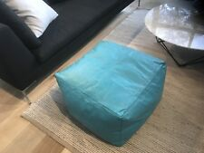 Large Moroccan Leather Ottoman Pouffe Pouf Footstool Coffee Table in Turquoise