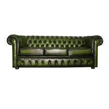 Chesterfield divano letto 100 vera Pelle a tre posti Verde Antico