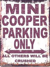 MINI COOPER PARKING SIGN RETRO VINTAGE STYLE 6x8in 20x15cm garage workshop art