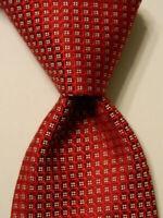 THOMAS PINK Mens 100% Silk Necktie MOROCCO Luxury Geometric Red/White Skinny EUC