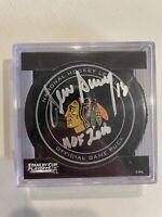 Denis Savard Signed Chicago Blackhawks 2013 NHL Playoffs Hockey Puck w/HOF'00