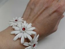 CORO SIGNED VINTAGE RED & WHITE CRYSTAL FLOWER BRACELET!