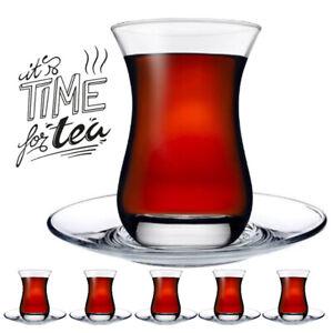 12 tlg. Set für Tee, Teegläser mit Untertassen Pasabahce Aida Set für 6 Personen
