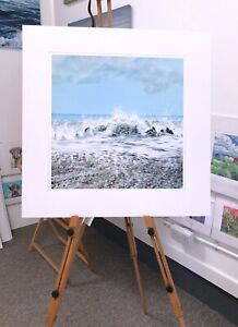 'Great Surf' 70x70 print Crashing waves, seascape Painting by Julia Pankhurst