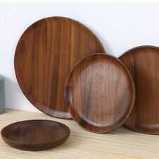 Walnut Wood Round Plate Fruit Dishes Dessert Tea Serving Tray Tablewares Quality