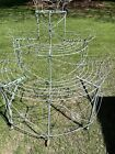Antique Victorian Light Green 3 Tier Wire Plant Stand 5 Rolling Wheels   Unique!