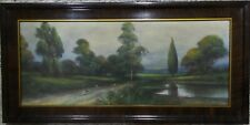 ANTIQUE EARLY 1900'S PLEIN AIR SUMMER SCENE AMERICAN LANDSCAPE PASTEL PAINTING
