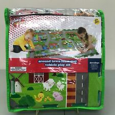 Play Right Around Town- Foam Mat- Vehicle Play Set 3 Vehicles, Covers 6 ft, 3+