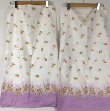 2pc Set Vintage Feedsack? Pillowcases Pair Purple Floral Flowers Scalloped Edges