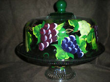 HAND PAINTED RED,PURPLE AND GREEN GRAPES CAKE PLATE/PUNCH BOWL(MADE IN THE USA)