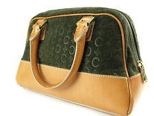 Auth CELINE Suede Leather Dark green Mini Boston Bag CH1098L