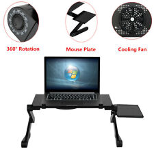 New listing 360° Rotation Folding Lift Laptop Table Stand Bed Tray Desk W/ Fan & Mouse Plate
