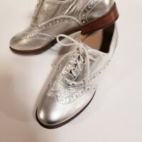 VIONIC wise hadley leather brogue lace ladies shoe RRP £120 metallic Silver