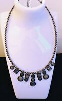 Costume Jewellery Gun Metal Faceted Bead & Charm Collar Necklace