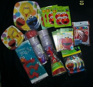 Sesame Street & ELMO Party Supplies  HUGE LOT 22 pcs.  Party for 24 People NEW