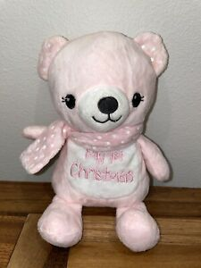 "DanDee My 1st Christmas Pink Bear Polka Dot Scarf 8"" First Stuffed Plush Toy"