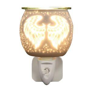AROMA Plug-In Lamp Night Light Wax Melt Burner Warmer - White Satin Angel Wings
