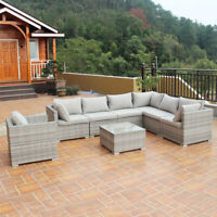 3-9PCS Patio Rattan Sofa Furniture Set Infinitely Combination PE Wicker Outdoor