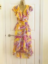 Summer Bright Yellow Ruffled V Neck Occasion Evening Party Races Midi Dress £70