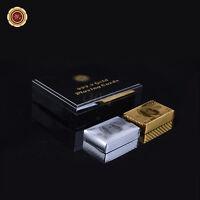 WR US $100 Dollar Bill 24K Gold & Silver Poker Playing Cards 2 Decks in Gift Box
