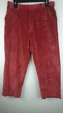 Orvis Men 36 X 27.5 Red Corduroy Leather Crushed Velvet Trouser Pants Z2