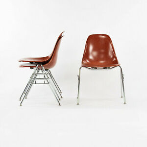 Eames Modernica Case Study Red Fiberglass Side Shell Chair with Stacking Base