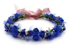 Flower Wreath Crown, Flowergirl, Wedding, Head Garland Royal Blue