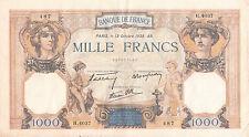 Billet banque 1000 Frs CERES ET MERCURE 13-10-1938 AR H.4037 état voir scan