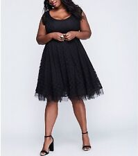 LANE BRYANT WOMEN'S BLACK LACE W/ TULLE HEM FIT & FLARE LINED DRESS PLUS Sz 22
