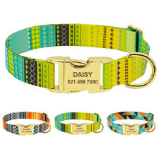 Personalized Nylon Dog Collars Pet ID Tags Engraved Gold Buckle Stainless Steel