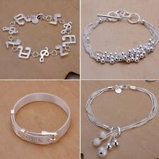 Fashion Women Charm 925 Sterling Solid Silver Chain Bracelet Bangle Hand Jewelry
