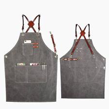 Genuine Leather Strap Bib Apron Baker Bartender Bbq Cooking Chef Waiter Uniform