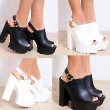Synthetic Open Toe High (3 in. and Up) Block Heels for Women
