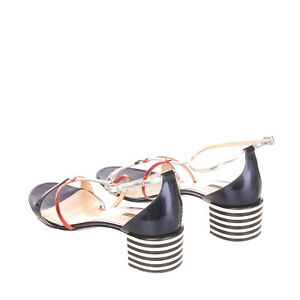 RRP €315 EMPORIO ARMANI Leather Sandals Size 37 UK 4 US 7 Heel Made in Italy