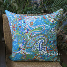 """Large Indian 24"""" Pillow Cushion Cover Decorative Floral Kantha Cushion Cover Art"""