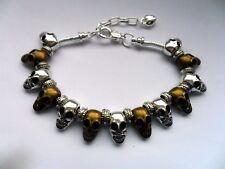 Inusual pulsera de cadena de Plata Cráneo con bronce y plata encantos