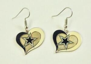 AMINCO NFL Dallas Cowboys Heart Dangle Hook Earrings
