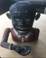 "Starkies Vintage Black Face Jolly Man Coin Bank, ""Sonny Boy"" mechanical aluminum"