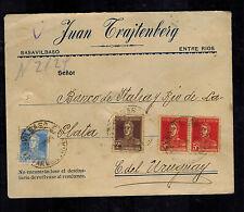1924 Basavilbaso Argentina Judaica Cover Bank of Italy Uruguay Juan Trajtenberg