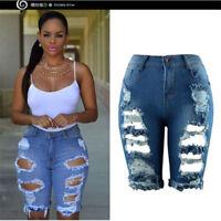 Femme Pantalon Denim Main Porté Déchiré Haute Taille Irrégulière Jeans Mode SP