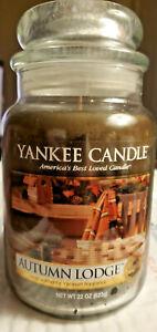Yankee Candle AUTUMN LODGE 22 oz Large Jar Rare HTF 2014 Pour Housewarmer Fresh