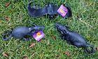 LOT OF 3 NEW HALLOWEEN DECORATIONS 2 RUBBER BLACK RATS & 1 BAT