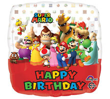 """Super Mario Brother's Luigi Square 17"""" Foil Balloon Happy Birthday Party 3 Pack"""